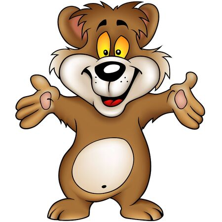 jovial: Happy Brown Bear - Highly detailed vector illustration. Illustration