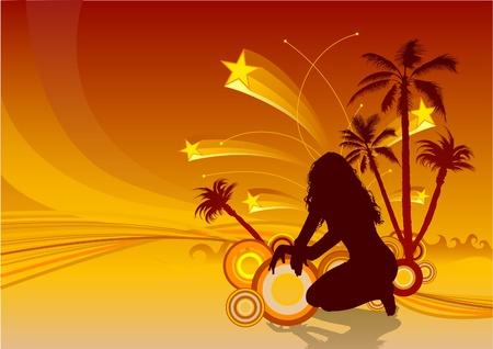 Tropical Grunge - vector background as tropical paradise Stock Vector - 1397348