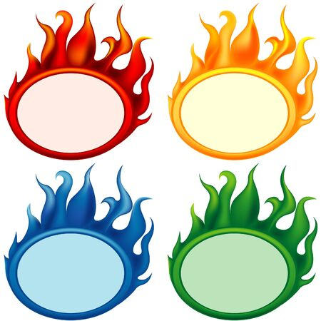 Fire-banners - vector banners with flame effects Stock Vector - 1414842