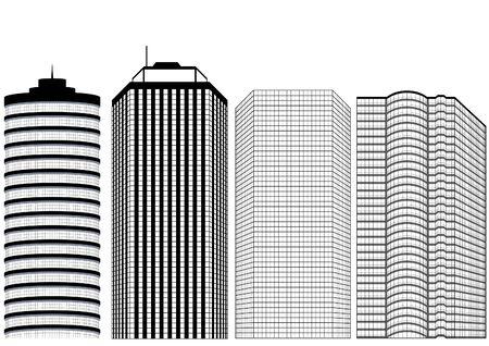 건축가: Skyscrapers BW - Highly detailed vector illustration.