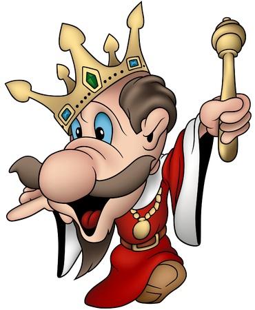 왕: Absent minded king - cartoon vector illustration