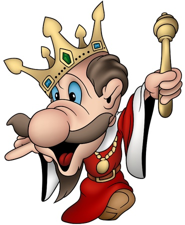 sceptre: Absent minded king - cartoon vector illustration