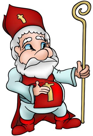 saint nicholas: Saint Nicholas - detailed cartoon vector illustration