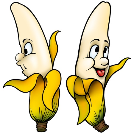 kiddish: Two Bananas - vector cartoon illustration