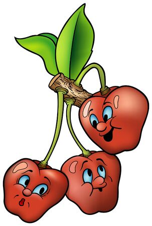 child's: Three Smiling Cherry - cartoon vector illustration