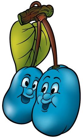 fruttosio: Blu due Prugne - colorati cartoon illustrazione vettoriale  Vettoriali