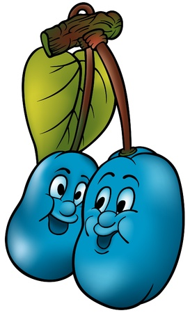 fructose: Two Blue Plums - coloured cartoon vector illustration