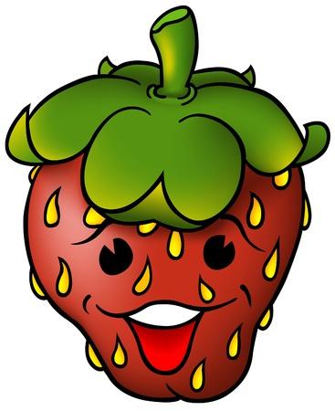 strawberry cartoon: Smiling Strawberry - coloured cartoon vector illustration