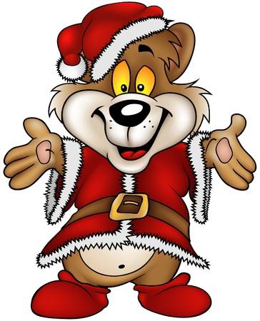 vector cartoons: Christmas Happy Brown Bear - cartoons vector