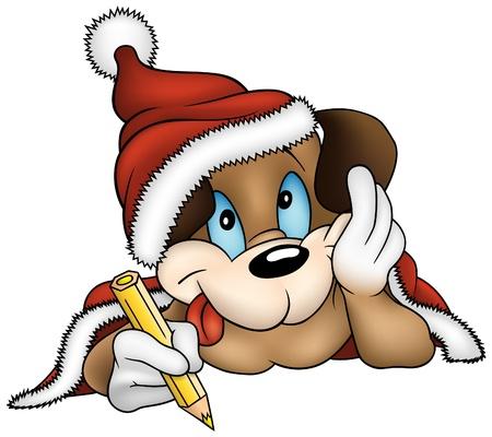 vector cartoons: Christmas and Puppy Dog - vector cartoons illustration