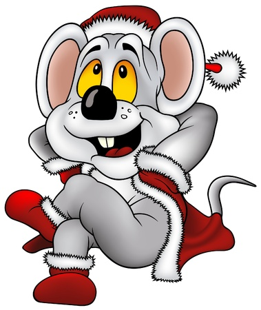 Christmas Mouse - vector cartoons illustration Illustration