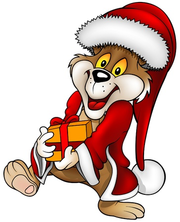 teddy bear christmas: Santa Bear and Gift - detailed vector cartoon illustration