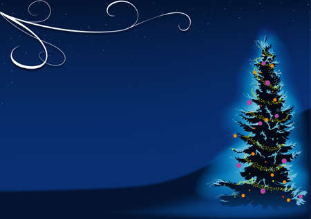 snowcapped: Blue Christmas Tree - vector navidad fondo