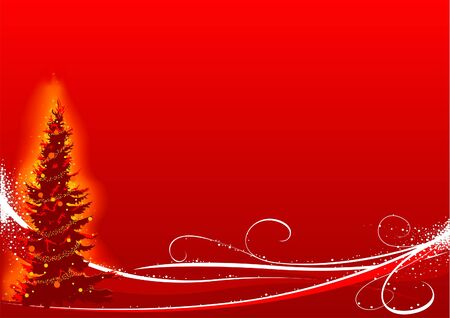 Red Christmas Tree - vector christmas background Vector