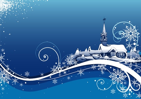 Abstract Blue Xmas Background - vector christmas background Stock Vector - 1975403