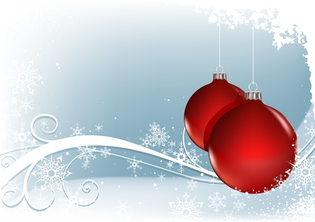 Red Christmas Balls - vector christmas background Vector