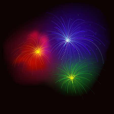 efectos especiales: Fuegos artificiales RGB - ilustraci�n vectorial con efectos especiales.