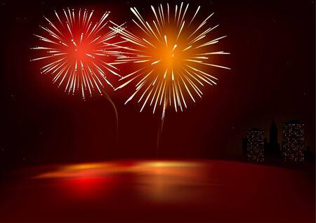 Red Fireworks - vector illustration & special lightning effects Vector