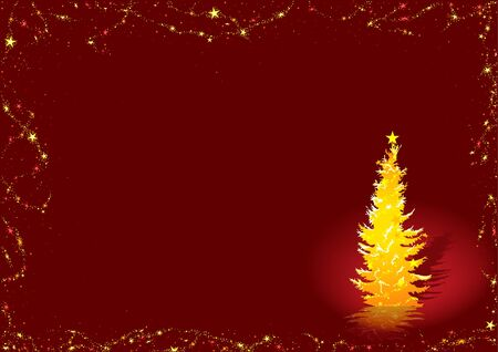 Golden Christmas Tree - vector christmas background Vector