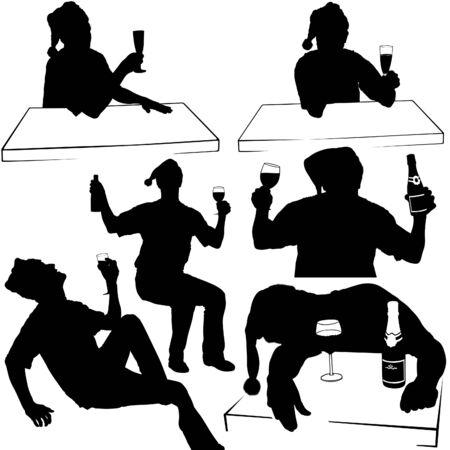 pledge: Silhouettes - Santa Drinking D - New Years Celebrations Illustration
