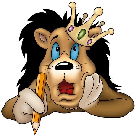 escritores: Le�n con l�piz - dibujo animado como ilustraci�n de vectores Vectores