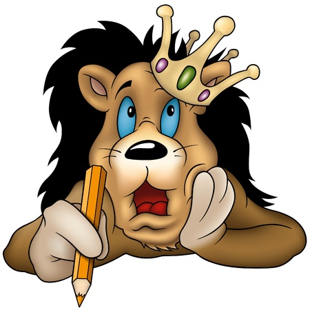 Lion with pencil  - cartoon illustration as vector