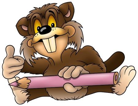 ricin: Peintre Castor - Castor au crayon comme illustration vectorielle Illustration