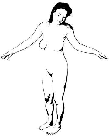 adult nude: Girl BW 2008_06 - detailed vector illustration