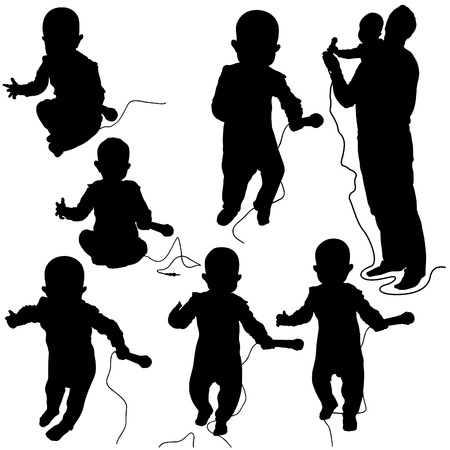suckling: Baby DJ - black and white silhouettes as vector file