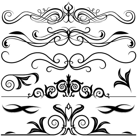 Decorative Elements A - black & white vector Stock Vector - 2497361