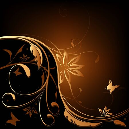 Brown-Orange Floral background Stock Vector - 2497363