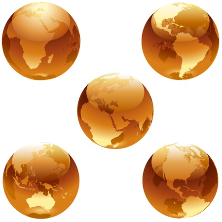 Earth Honey Set - blue glass globe illustrations as vectors