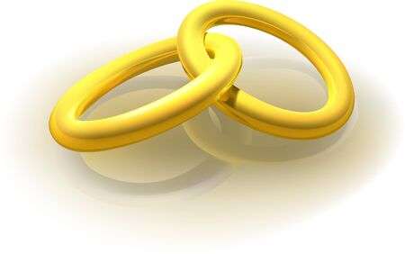 interlocked: Two Gold Rings - detailed vector image