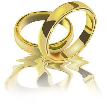 interlocked: Two Wedding Rings - detailed vector image Illustration
