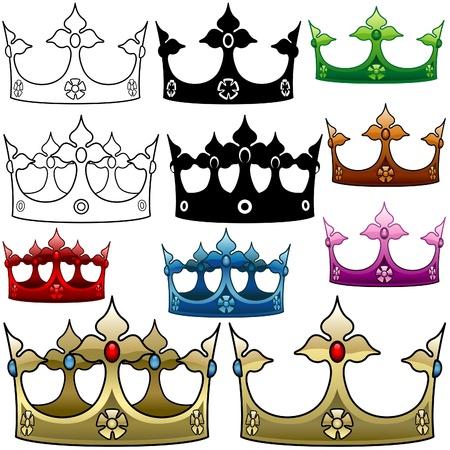 koninklijke kroon: Royal Crown D - gedetailleerde illustratie als vector afbeeldingen