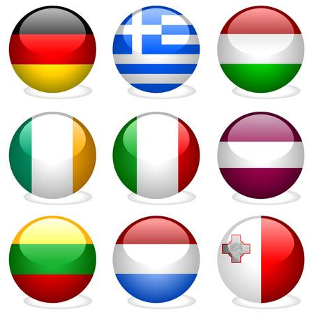 Europe Union Part 2 - vectors with glass effect Stock Vector - 2575852