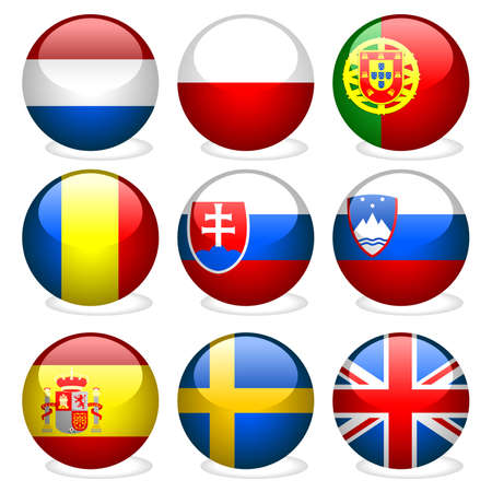 Europe Union Part 3 - vectors with glass effect Stock Vector - 2575854