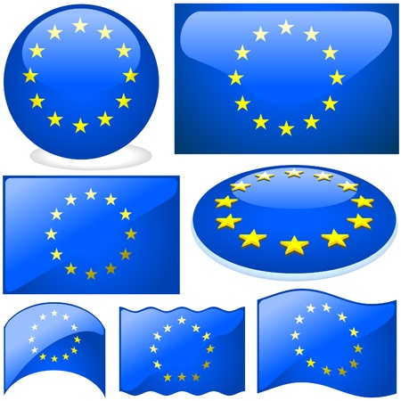 Europe Union Set - illustrations with glass effect as vectors Stock Vector - 2585487