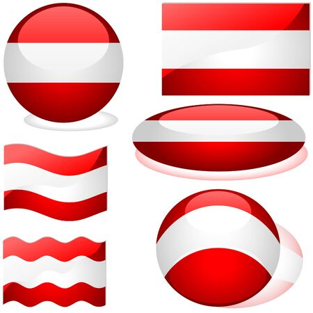 Austria Set - flags collection with glass effect Stock Vector - 2585491