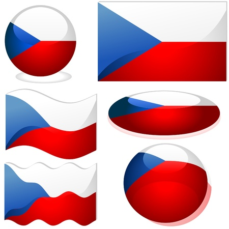 Czech republic Set - flags collection with glass effect Stock Vector - 2585495