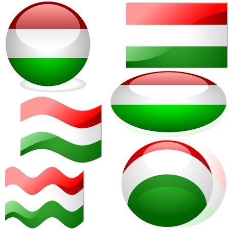 Hungary Set - flags collection with glass effect Stock Vector - 2585492