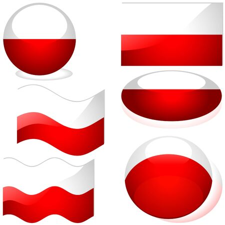 Poland Set - flags collection with glass effect Stock Vector - 2585488