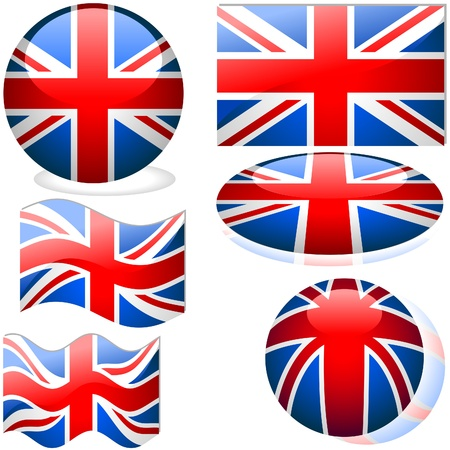 United Kingdom Set - flags collection with glass effect Stock Vector - 2585499