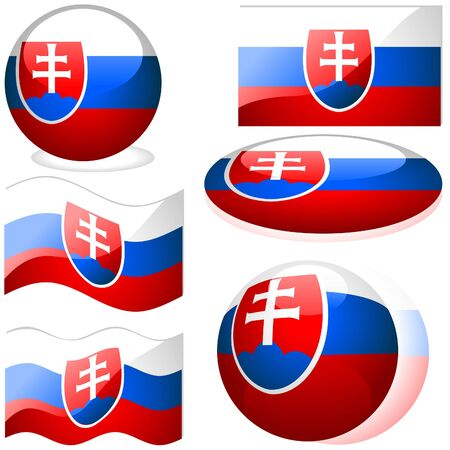 Slovakia Set - flags collection with glass effect as vectors Stock Vector - 2585500