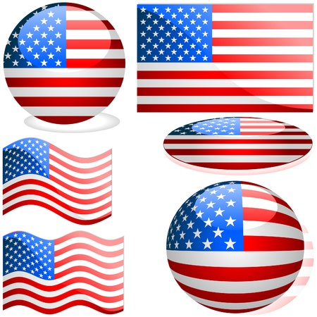 USA Set - flags collection with glass effect as vectors Stock Vector - 2585503