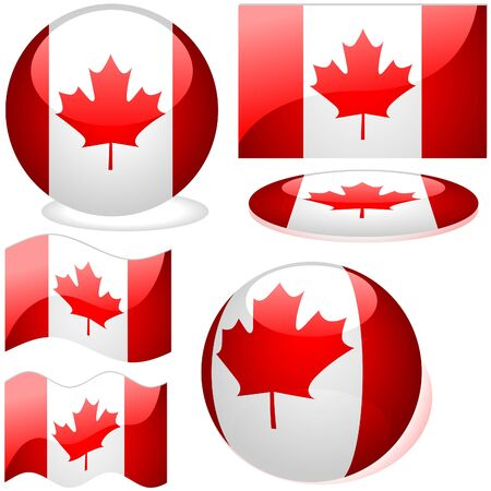 Canada Set - flags collection with glass effect as vectors Stock Vector - 2599535
