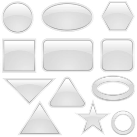 Glass Icon Set Gray - glass buttons as vector illustration Stock Vector - 2660810