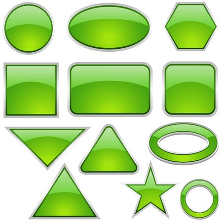 Glass Icon Set Green - glass buttons as vector illustration Stock Vector - 2660812