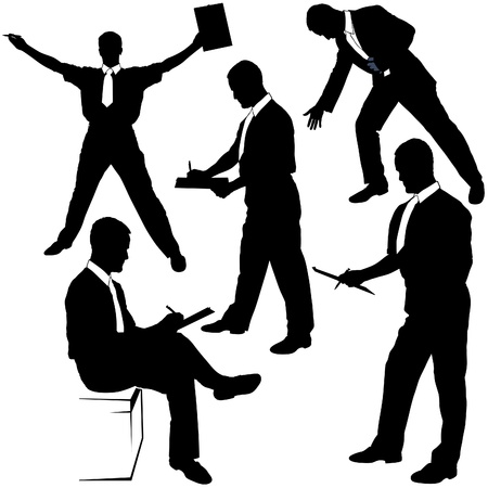 posing  agree: Business Silhouettes - Signing