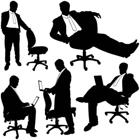 business man vector: Manager and Rolling Chair - Silhouettes Illustration
